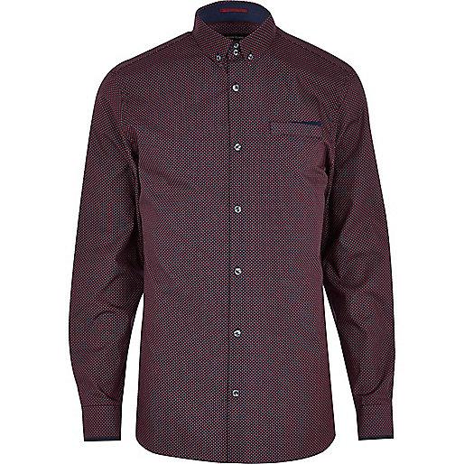 Dark red ditsy geometric print shirt