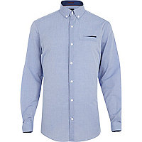 Powder blue dotted long sleeve shirt