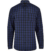Dark blue tartan long sleeve shirt