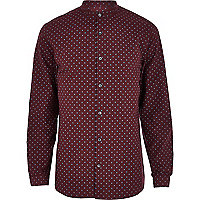 Dark red polka dot grandad shirt