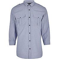 Blue check military shirt
