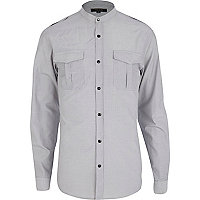 White thin stripe military shirt