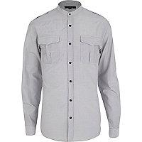 White thin striped military shirt