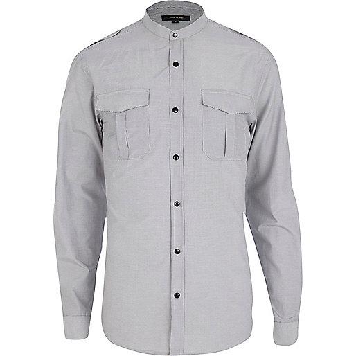 White thin stripe military shirt