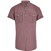 Dark red check military shirt