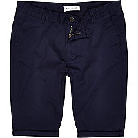 Navy blue skinny stretch chino shorts