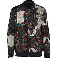 Black paisley print quilted bomber jacket