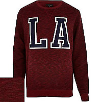 Red LA embroidered sweatshirt