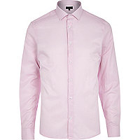 Light pink spotted stripe long sleeve shirt