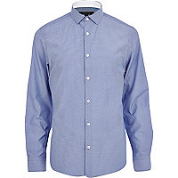 Blue spotted stripe long sleeve shirt