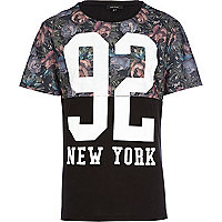 Black floral 92 new york t-shirt
