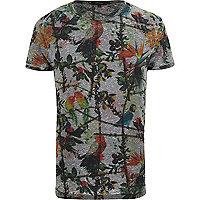 Grey floral parrot print t-shirt