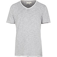 Grey slub V neck t-shirt