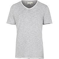 Grey slub V neck t-shirt