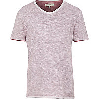 Red slub V neck t-shirt