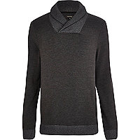 Dark grey shawl collar sweatshirt