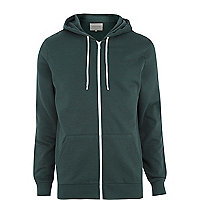 Dark green zip through hoodie