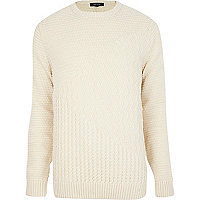 Ecru mixed texture jumper