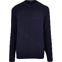 Navy blue mixed texture jumper