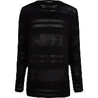 Black mesh stripe crew neck jumper