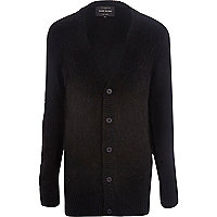 Black fluffy knitted longer length cardigan