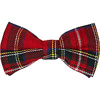 Red tartan clip on bow tie