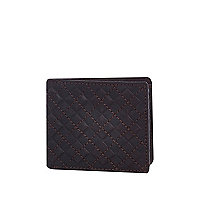 Dark brown diamond embossed wallet
