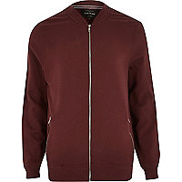 Dark red zip through jersey bomber