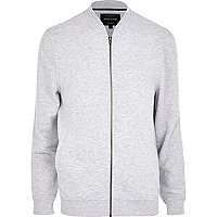 Light grey marl jersey bomber jacket