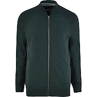 Dark green zip through jersey bomber