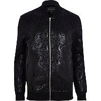 Black paisley high shine bomber jacket