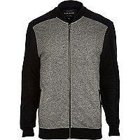 Black textured colour block bomber jacket