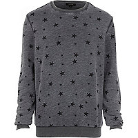 Dark grey burnout star print sweatshirt