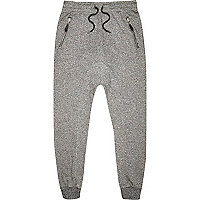 Grey marl drop crotch joggers