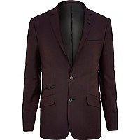 Dark red slim suit jacket