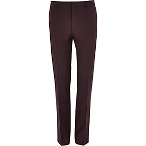 Dark red skinny suit trousers