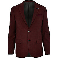 Red textured tweed blazer