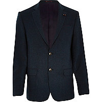 Blue tweed woollen blazer