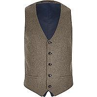 Green smart wool blend waistcoat