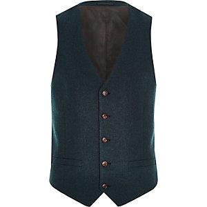 Blue wool-blend waistcoat