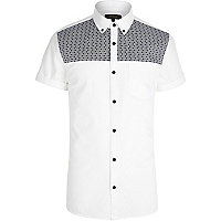 White tile print panel Oxford shirt