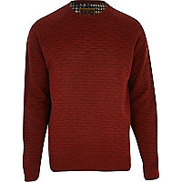 Orange Holloway Road quilted knit jumper