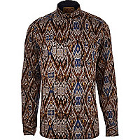 Grey Holloway Road ikat pattern shirt