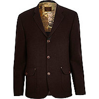 Dark red Holloway Road contrast check blazer
