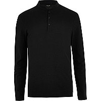 Black grandad collar long sleeve polo shirt