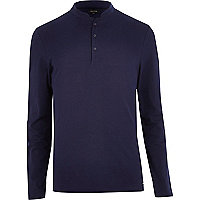 Navy grandad collar long sleeve polo shirt