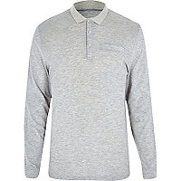 Light grey long sleeve polo shirt