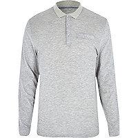 Light grey long sleeve polo shirt