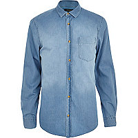Light wash long sleeve denim shirt