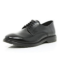 Black leather high shine dress shoes